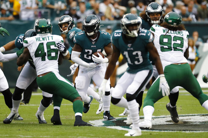 Philadelphia Eagles' Jordan Howard rushes during the first half of an NFL football game against the New York Jets, Sunday, Oct. 6, 2019, in Philadelphia. (AP Photo/Michael Perez)