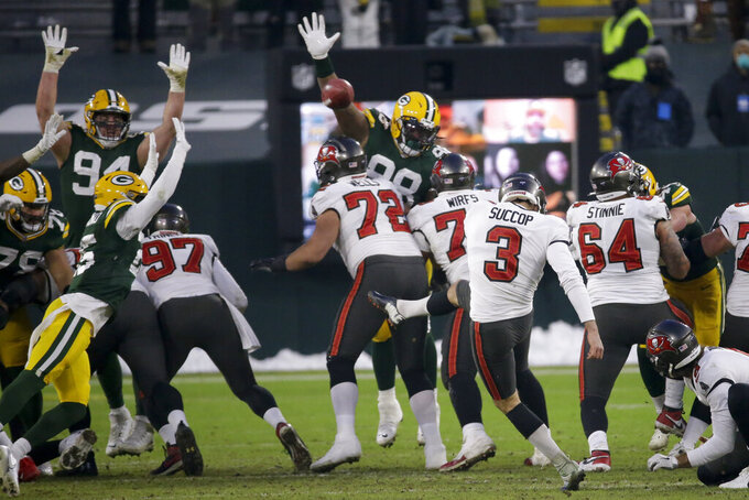 Tampa Bay Buccaneers kicker Ryan Succop (3) kicks a 46-yard field goal against the Green Bay Packers during the second half of the NFC championship NFL football game in Green Bay, Wis., Sunday, Jan. 24, 2021. (AP Photo/Mike Roemer)