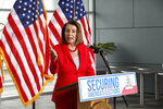 House Speaker Nancy Pelosi speaks during a news conference at the Federal Building in San Francisco on Monday, July 8, 2019. She and other elected leaders and advocates, called for the Senate to pass the Securing America's Elections (SAFE) Act, a bill to protect elections from future foreign interference. House Speaker Pelosi said President Donald Trump wants to add a citizenship question to next year's Census because he wants to