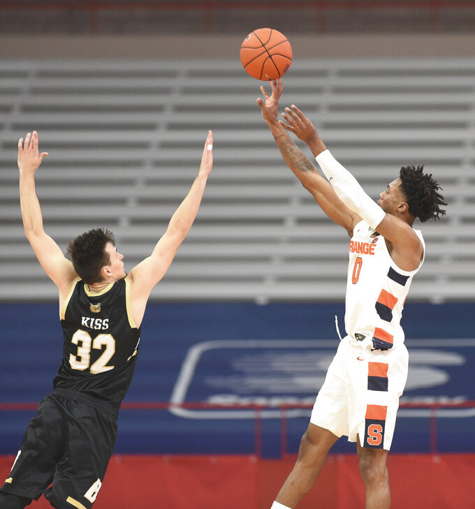 Syracuse forward Alan Griffin (0) shoots over Bryant's Peter Kiss during the first half of an NCAA college basketball game, Friday, Nov. 27, 2020, in Syracuse, N.Y. (Dennis Nett/The Post-Standard via AP)
