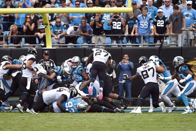 Jacksonville Jaguars running back Leonard Fournette (27) dives into the end zone for a touchdown against the Carolina Panthers during the second half of an NFL football game in Charlotte, N.C., Sunday, Oct. 6, 2019. (AP Photo/Mike McCarn)