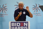 FILE - In this Nov. 1, 2020 file photo, U.S. Rep. Charlie Crist, D-Fla., before Jill Biden speaks to supporters while campaigning for her husband Democratic presidential candidate and former Vice President Joe Biden, during a campaign rally in Tampa, Fla.  Crist, who served as Florida governor for a single term before running for other positions, is seeking the state's highest office once again — this time as a Democrat. Crist on Tuesday, May 4, 2021, released videos leaving no doubt the campaign is on.   (AP Photo/Chris O'Meara, File)