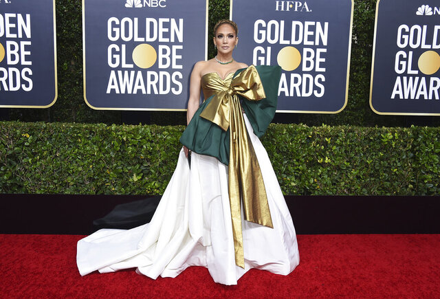 Jennifer Lopez arrives at the 77th annual Golden Globe Awards at the Beverly Hilton Hotel on Sunday, Jan. 5, 2020, in Beverly Hills, Calif. (Photo by Jordan Strauss/Invision/AP)