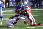 New York Giants' Alfred Morris (41), center, is brought down by the Arizona Cardinals defense during the first half of an NFL football game, Sunday, Dec. 13, 2020, in East Rutherford, N.J. (AP Photo/Bill Kostroun)