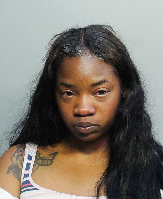The booking photo released by the Miami-Dade Police Department shows Paris Anderson on Wednesday, July 1, 2020.  Anderson was arrested following an altercation with a Miami-Dade police officer at Miami International Airport in Miami. The police officer was relieved of duty. (Miami-Dade Police Department via AP)