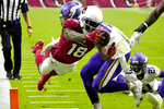 Arizona Cardinals wide receiver A.J. Green (18) dives into the end zone for a touchdown against the Minnesota Vikings during the second half of an NFL football game, Sunday, Sept. 19, 2021, in Glendale, Ariz. (AP Photo/Rick Scuteri)