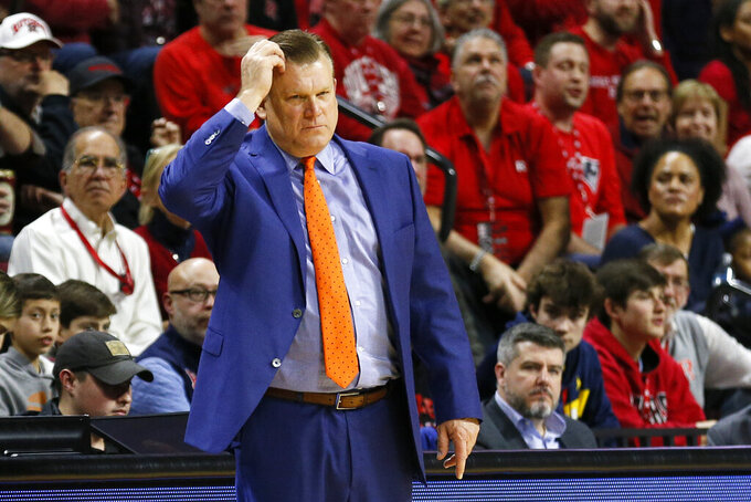 Illinois head coach Brad Underwood reacts during the first half of an NCAA college basketball game against Rutgers, Saturday, Feb. 15, 2020, in Piscataway, N.J. (AP Photo/Adam Hunger)