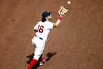 Boston Red Sox's Andrew Benintendi catches a flyout by Baltimore Orioles' Pedro Severino during the sixth inning of a baseball game Saturday, July 25, 2020, in Boston. (AP Photo/Michael Dwyer)