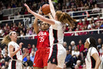 U.S. guard Allisha Gray (35) shoots as Stanford forward Ashten Prechtel, center right, defends in the first quarter of an exhibition women's basketball game, Saturday, Nov. 2, 2019, in Stanford, Calif. (AP Photo/John Hefti)