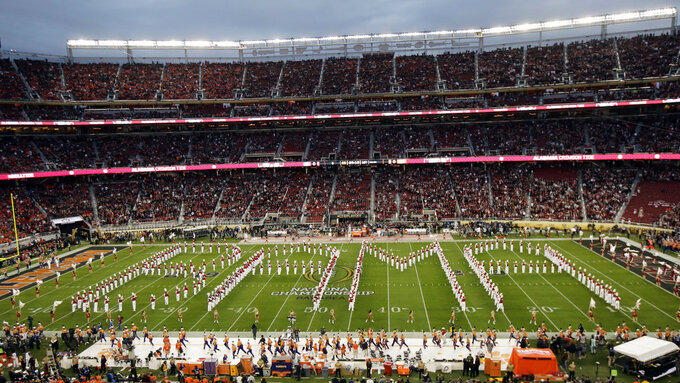 The Alabama band performs before the NCAA college football playoff championship game against Clemson, Monday, Jan. 7, 2019, in Santa Clara, Calif. (AP Photo/Jeff Chiu)