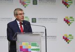 President of International Olympic Committee Thomas Bach attends the opening session of the 5th WADA (World Anti-Doping Agency) World Conference on Doping in Sport Congress in Katowice,Poland,Nov.5,2019.(AP Photo)