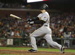 Pittsburgh Pirates' David Freese watches his three-run home run off San Francisco Giants relief pitcher Derek Law during the seventh inning of a baseball game Thursday, Aug. 9, 2018, in San Francisco. (AP Photo/Eric Risberg)