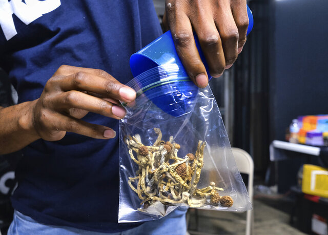 FILE - In this May 24, 2019, file photo a vendor bags psilocybin mushrooms at a pop-up cannabis market in Los Angeles. Despite pandemic conditions that made normal signature-gathering almost impossible, activists in the nation's capital say they have enough signatures for a November ballot initiative that would decriminalize natural psychedelics such as mescaline and psilocybin mushrooms. (AP Photo/Richard Vogel, File)