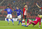 Leicester's Ayoze Perez, left, celebrates with Leicester's Jamie Vardy after scoring his side's sixth goal during the English Premier League soccer match between Southampton and Leicester City at St Mary's stadium in Southampton, England Friday, Oct., 25, 2019. (AP Photo/Alastair Grant)