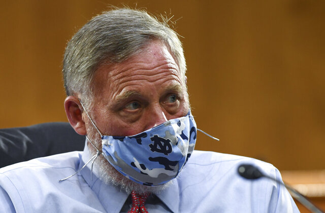 Sen. Richard Burr, R-N.C., listens to testimony before the Senate Committee for Health, Education, Labor, and Pensions hearing, Tuesday, May 12, 2020 on Capitol Hill in Washington.  (Toni L. Sandys/The Washington Post via AP, Pool)