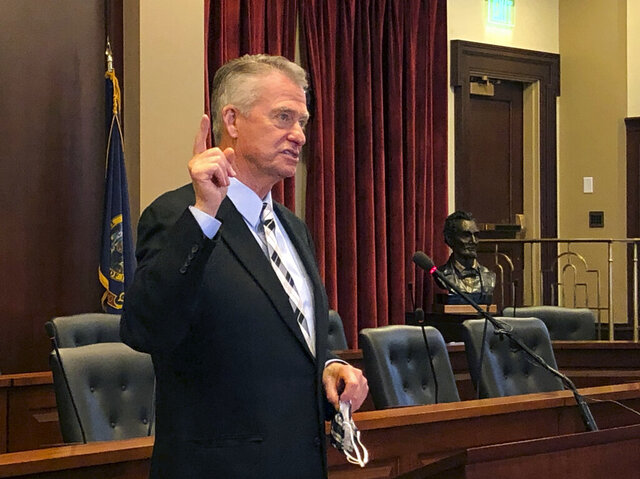 Idaho Republican Gov. Brad Little speaks at the Statehouse in Boise, Idaho on Thursday, July 9, 2020. Little announced a plan for reopening schools in the fall that requires schools to be prepared to teach students with traditional face-to-face methods in the classroom, distance learning online, or a hybrid combination. (AP Photo/Keith Ridler)
