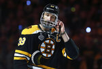 Boston Bruins' Zdeno Chara, of Slovakia, adjusts his helmet before Game 5 of the NHL hockey Stanley Cup Final against the St. Louis Blues, Thursday, June 6, 2019, in Boston. (AP Photo/Michael Dwyer)