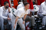 Indiana coach Archie Miller stands in the bench area during the second half of the team's NCAA college basketball game against Michigan State, Tuesday, March 2, 2021, in East Lansing, Mich. Michigan State won 64-58. (AP Photo/Al Goldis)