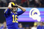 Los Angeles Rams' Jared Goff (16) reacts after his pass was intercepted during the second half of the NFL Super Bowl 53 football game against the New England Patriots, Sunday, Feb. 3, 2019, in Atlanta. (AP Photo/Mark Humphrey)