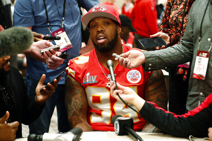 Kansas City Chiefs outside linebacker Terrell Suggs (94) speaks during a media availability, Wednesday, Jan. 29, 2020, in Aventura, Fla., for the NFL Super Bowl 54 football game. (AP Photo/Brynn Anderson)