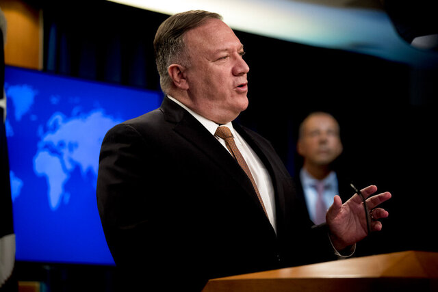 Secretary of State Mike Pompeo speaks during a news conference at the State Department in Washington, Wednesday, July 15, 2020. (AP Photo/Andrew Harnik, Pool)