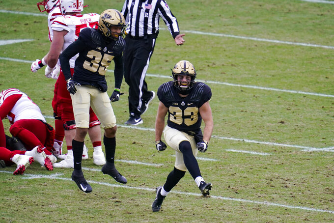 Purdue wide receiver Jackson Anthrop (33) celebrates after blocking a punt against Nebraska during the second quarter of an NCAA college football game in West Lafayette, Ind., Saturday, Dec. 5, 2020. (AP Photo/Michael Conroy)