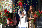 Olympic gymnast Laurie Hernandez, from left, actress Rita Moreno and actress Gina Torres appear at the tournament house in Pasadena, Calif., on Tuesday, Oct. 15, 2019, where it was announced that they will serve as Grand Marshals for the 2020 Pasadena Tournament of Roses Parade. (David Crane/The Orange County Register via AP)
