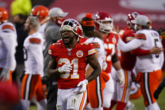 Kansas City Chiefs running back Darrel Williams runs off the field after an NFL divisional round football game against the Cleveland Browns, Sunday, Jan. 17, 2021, in Kansas City. The Chiefs won 22-17. (AP Photo/Jeff Roberson)