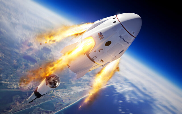 This illustration made available by SpaceX depicts the company's Crew Dragon capsule and Falcon 9 rocket during the uncrewed In-Flight Abort Test for NASA's Commercial Crew Program. (SpaceX via AP)