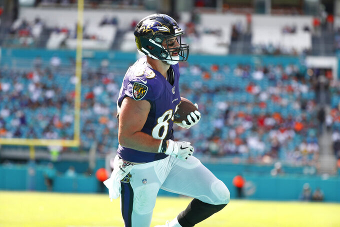 Baltimore Ravens tight end Mark Andrews (89) runs the ball, during the second half at an NFL football game against the Miami Dolphins, Sunday, Sept. 8, 2019, in Miami Gardens, Fla. (AP Photo/Wilfredo Lee)
