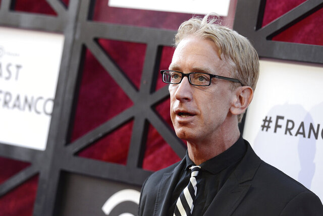 FILE - In this Aug. 25, 2013, file photo, actor Andy Dick arrives at the Comedy Central Roast of James Franco at The Culver Studios in Culver City, Calif. Comedian Andy Dick has filed a lawsuit in New Orleans against the man who punched him last year outside a French Quarter nightclub.  Documents in the July 30, 2020, lawsuit were made public Thursday, Aug. 6, The Times-Picayune/The New Orleans Advocate reported. (Photo by Dan Steinberg/Invision/AP, File)