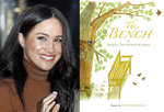 """This combination photo shows Meghan, Duchess of Sussex leaving Canada House in London, on Jan. 7, 2020, left, and cover art for her upcoming children's book """"The Bench,"""" with pictures by Christian Robinson. The book will publish on June 8. (AP Photo, left, and Random House Children's Books via AP)"""