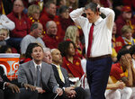 Iowa State oach Steve Prohm, right, reacts after a foul on Iowa State during the first half of an NCAA college basketball game against Oklahoma State, Saturday, Jan. 19, 2019, in Ames. (AP Photo/Matthew Putney)
