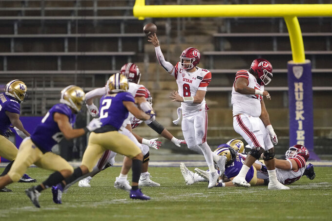 Utah quarterback Jake Bentley (8) throws a pass against Washington during the second half of an NCAA college football game Saturday, Nov. 28, 2020, in Seattle. (AP Photo/Ted S. Warren)