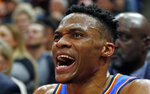 CORRECTS DATELINE TO SALT LAKE CITY INSTEAD OF KEARNS, UTAH - Oklahoma City Thunder guard Russell Westbrook (0) shouts to his team in the second half during an NBA basketball game against the Utah Jazz, Monday, March 11, 2019, in Salt Lake City. (AP Photo/Rick Bowmer)