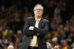 Iowa head coach Fran McCaffery watches from the bench during the second half of an NCAA college basketball game against Wisconsin, Monday, Jan. 27, 2020, in Iowa City, Iowa. Iowa won 68-62. (AP Photo/Charlie Neibergall)