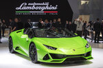 The Lamborghini Huracan EVO Spyder is presented during the press day at the '89th Geneva International Motor Show' in Geneva, Switzerland, Tuesday, March 5, 2019. The 'Geneva International Motor Show' takes place in Switzerland from March 7 until March 17, 2019. Automakers are rolling out new electric and hybrid models at the show as they get ready to meet tougher emissions requirements in Europe - while not forgetting the profitable and popular SUVs and SUV-like crossovers. (Martial Trezzini/Keystone via AP)