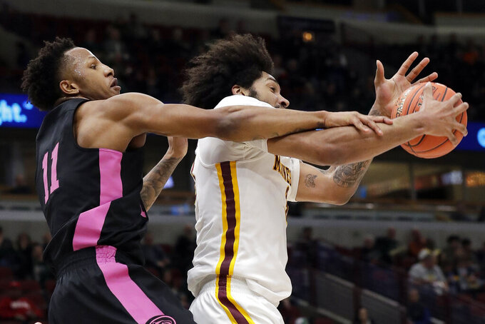 Minnesota's Jordan Murphy (3) and Penn State's Lamar Stevens (11) battle for a rebound during the first half of an NCAA college basketball game in the second round of the Big Ten Conference tournament, Thursday, March 14, 2019, in Chicago. (AP Photo/Nam Y. Huh)