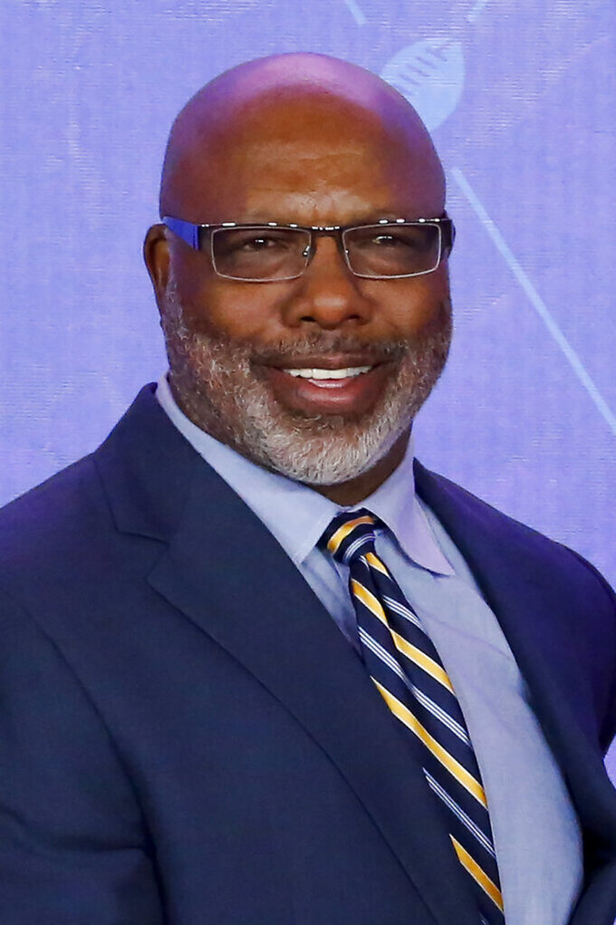 FILE - In this Aug. 6, 2016, file photo, former NFL player Donnie Shell smiles during induction ceremonies for former teammate Tony Dungy (not shown), in Canton, Ohio. Donnie Shell knew he was ahead of his time. It's why the Pittsburgh Steelers safety never worried about whether he'd get into the Hall of Fame. His long wait ended this week, when he got the call more than 30 years after playing his final game. (AP Photo/Gene J. Puskar)