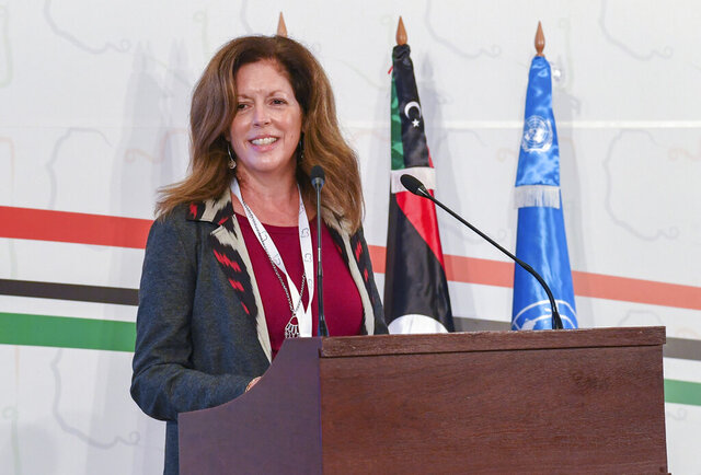 Stephanie Williams, Acting Special Representative of the Secretary-General and Head of the United Nations Support Mission attends the opening ceremony of the Libya's peace talks in Tunis, Tunisia, Monday Nov. 9, 2020. Libya's rival factions began much-awaited political peace talks in Tunisia's capital on Monday brokered by the United Nations, with a goal of drawing a roadmap to presidential and parliamentary elections. (AP Photo/Hassene Dridi)