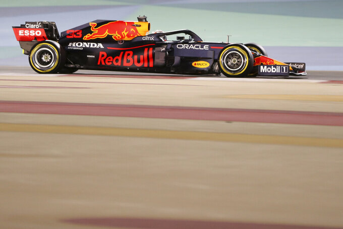 Red Bull driver Max Verstappen of the Netherlands steers his car during the Bahrain Formula One Grand Prix at the Bahrain International Circuit in Sakhir, Bahrain, Sunday, March 28, 2021. (AP Photo/Kamran Jebreili)