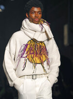The latest fashion creation from Zadig & Voltaire is modeled during Fashion Week, Monday, Feb. 11, 2019, in New York. (AP Photo/Kathy Willens)