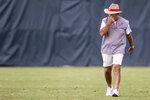 Alabama coach Nick Saban walks on the field between drills during the NCAA college football team's practice Thursday, Aug. 12, 2021, in Tuscaloosa, Ala. (AP Photo/Vasha Hunt)