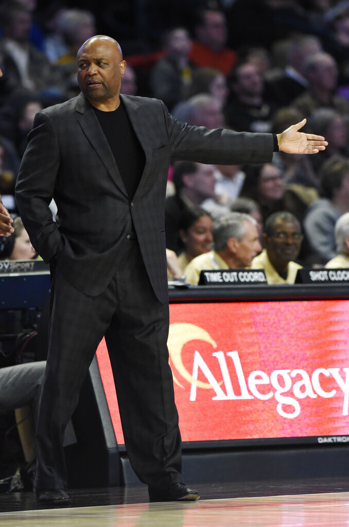 Florida State head coach Leonard Hamilton motions to the court during the first half of an NCAA college basketball game against Wake Forest on Saturday, March 9, 2019 in Winston-Salem, N.C. Florida State beat Wake Forest 65 to 57. (AP Photo/Woody Marshall)