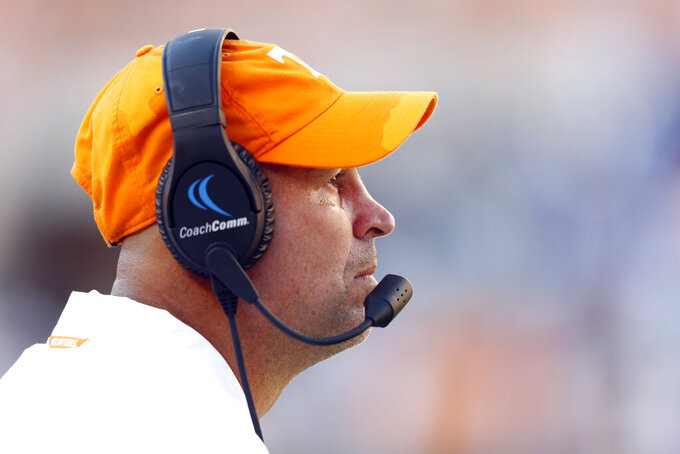 Tennessee head coach Jeremy Pruitt watches from the sideline in the second half of an NCAA college football game against Georgia State, Saturday, Aug. 31, 2019, in Knoxville, Tenn. (AP Photo/Wade Payne)