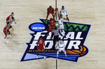 Players get set for the opening tip during the first half between Michigan State and Texas Tech in the semifinals of the Final Four NCAA college basketball tournament, Saturday, April 6, 2019, in Minneapolis. (AP Photo/Morry Gash)
