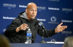 "FILE - Penn State football coach James Franklin gestures during an NCAA college football press conference at Beaver Stadium in State College, Pa., in this Tuesday, Nov. 12, 2019, file photo. The NCAA made it official Thursday, April 15, 2021, announcing the Division I Council had voted to approve a proposal that would permit all college athletes to transfer one time as an undergraduate without having to sit out a season. ""I don't think anything's changed,"" Penn State football coach James Franklin said. ""Let's be honest, over the last two years everybody knew all the transfer policies and the requirement to get immediate eligibility and everybody was saying whatever they had to say to become eligible."" (Abby Drey/Centre Daily Times via AP, File)"