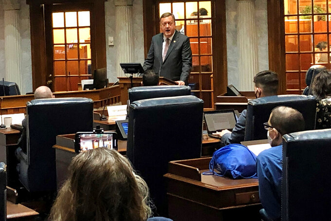 Indiana state Sen. Eric Koch, R-Bedford, speaks about the proposed congressional and legislative redistricting plan during a Senate elections committee meeting at the Statehouse in Indianapolis on Monday, Sept. 27, 2021. (AP Photo/Tom Davies)