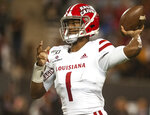 Louisiana-Lafayette quarterback Levi Lewis drops back to pass during the first half against Arkansas State in an NCAA college football game Thursday, Oct. 17, 2019, in Jonesboro, Ark. (Quentin Winstine/The Sun via AP)