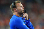 Los Angeles Rams head coach Sean McVay watches during the first half of an NFL preseason football game against the Denver Broncos, Saturday, Aug. 28, 2021, in Denver. (AP Photo/David Zalubowski)
